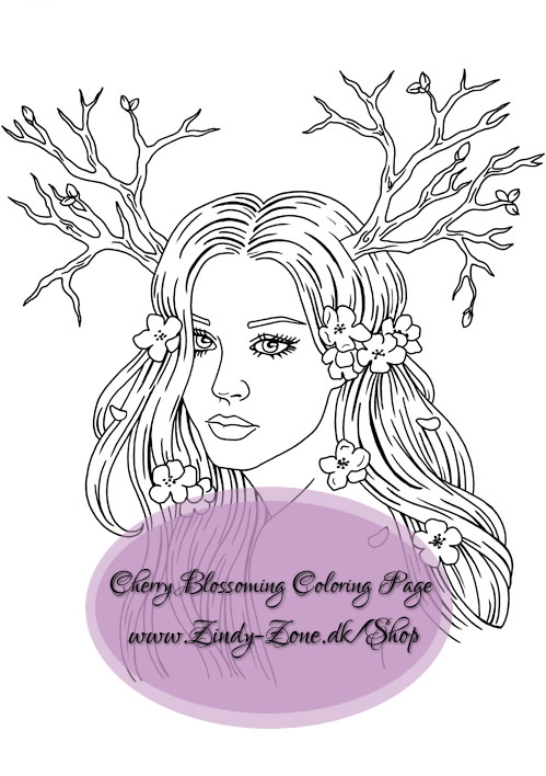Cherry Blossoming Coloring Page