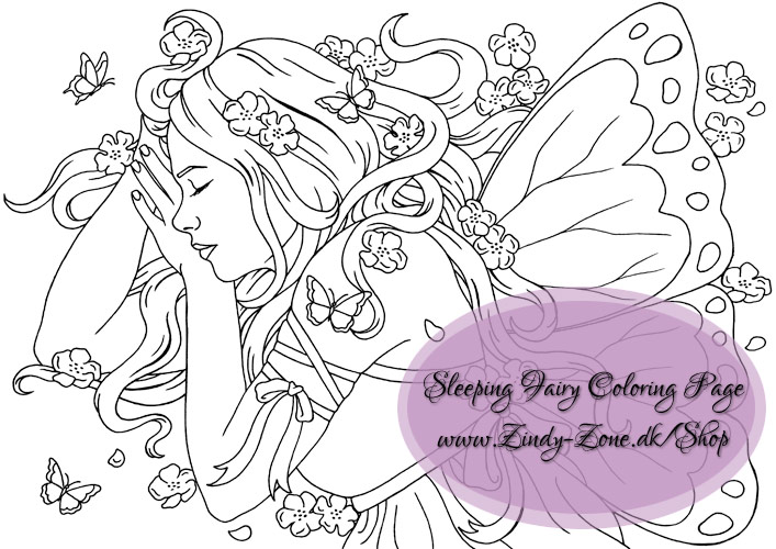 Sleeping Blossom Fairy Coloring Page